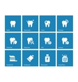 Dental icons on blue background vector image vector image