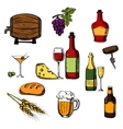 Alcohol drinks beverages and food vector image