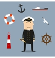 Captain profession and nautical icons vector image vector image