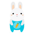 cute rabbit bunny in jumpsuit white hare vector image