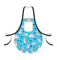 fashion kitchen apron with hand drawn cats - vector image