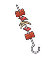 skewer of meats icon vector image