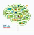 nfographic education human brain shape template vector image