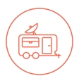 Caravan with satellite dish line icon vector image