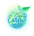 earth globe and leaves vector image