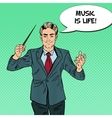 Pop Art Music Conductor Man with a Baton vector image