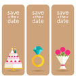 Set of 3 stylish banners wedding invitations vector image