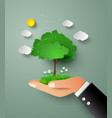 tree in hand vector image