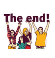 young group people isolated and sign the end vector image