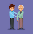young man with old man holding hand help together vector image
