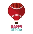 happy birthday red airballoon white background vector image