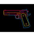 neon handgun vector image vector image