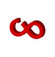 cut infinity symbol flat isometric icon or logo vector image