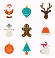 Set of modern style Christmas flat icons vector image