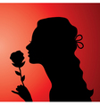 young woman with a rose vector image vector image