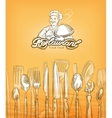 restaurant or cooking cutlery sketch vector image