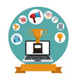 digital marketing laptop trophy media vector image
