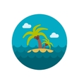 Island with palm trees flat icon vector image