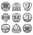 vintage monochrome ancient greece labels set vector image