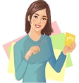 Young beautiful girl is cutting color paper with vector image
