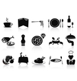 Black restaurant icons set vector image
