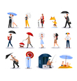 People With Umbrellas Collection vector image