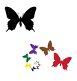 colour silhouettes butterflies vector image vector image