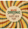 xmas retro card colorful rays vector image vector image