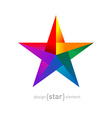Origami rainbow Star from paper on white vector image