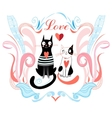 love cats and heart vector image vector image