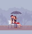 couple in love under umbrella vector image
