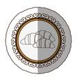 emblem silhouette croissant bread icon vector image