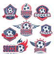 Soccer club football sport game badge with ball vector image