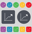 Chart icon sign A set of 12 colored buttons Flat vector image