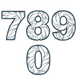 Single color ornate beautiful digits numbers with vector image