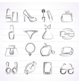 Female Fashion objects and accessories icons vector image vector image