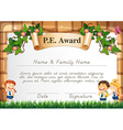 Certificate template for PE award vector image