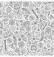Cartoon hippie seamless pattern vector image