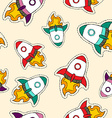 Rocket ship patch icon pattern in hand drawn style vector image
