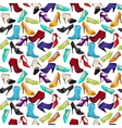 Seamless pattern with different shoes vector image