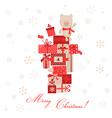 Vintage Christmas Card - Christmas Gifts with Bear vector image