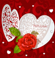 Delicate Valentine applique with red rose vector image