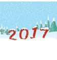Happy new year 2017 New year numbers in a snowy vector image