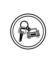 silhouette circular border with car keychain icon vector image