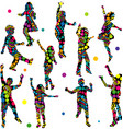 Patterned silhouettes of children vector image