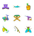 fish sport icons set cartoon style vector image vector image