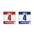 4th of july calendar icon set us independence day vector image vector image