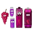 Natural red grape juice cartoon characters vector image