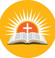 Bible sunset and cross Church logo concept Icon in vector image