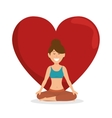 healthy lifestyle woman heart concept icon vector image
